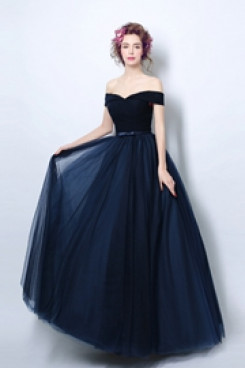 Dark Navy Off the Shoulder Prom Dresses under $100 Discount Evening Dresses TSJY-131
