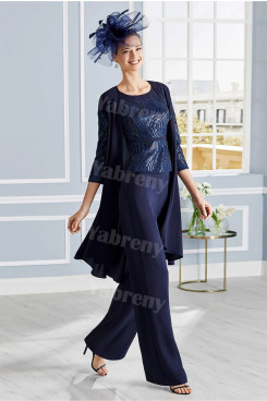 Dark Navy Sequined-Sequin Mother of the bride 3PC delicate women's outfits mps-300