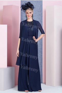 Dark Navy Sequined-Sequin Mother of the bride Outfits Accordion pleats pants suits mps-309