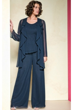 Dark Navy spring Three Piece mother of the bride pants sets mps-216