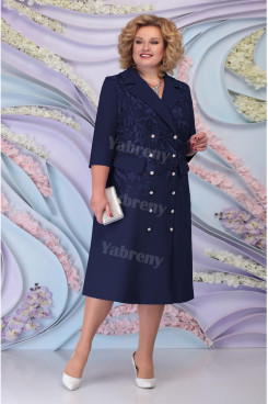 Dark Navy Tea-Length Mother Of The Bride Dress Plus Size Women's Dress With Garments mps-460-2
