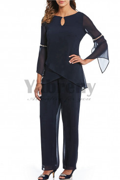 Dark Navy Two pieces Mother of the bride outfits Chiffon dresses mps-007