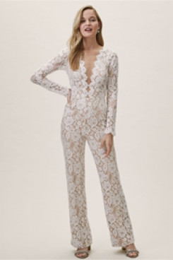 Deep V-Neck Lace Bridal Jumpsuits Wedding Pantsuit dresses so-113