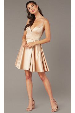Champagne Open-Back Graduation Party Dress, Spaghetti Above Knee Sexy Homecoming Dresses sd-041-1