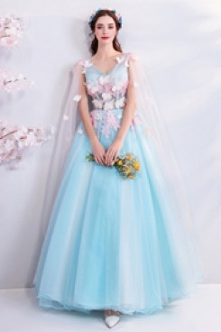 Discount A-line Prom Dresses Sky Blue Glamorous Party Dresses TSJY-153