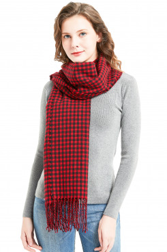 Fashion Women's Scarf Red and black Plaid  Scarves Free Shipping
