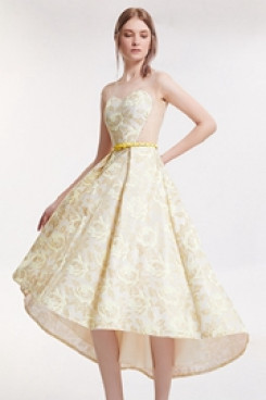 Dressy Champagne Front Short Long Back prom Dresses cyh-006