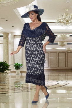 Dressy Mother of the bride dress Dark Navy lace women's Outfits mps-350