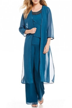 Classic Chiffon Beaded Neck Mother of the bride pants suit with Long Coat Elastic waist mps-111