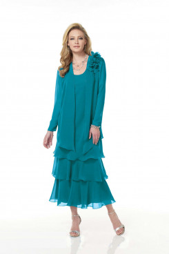 Elegant Chiffon Layered Turquoise Mid-Calf Mother of the Bride Dresses mps-391