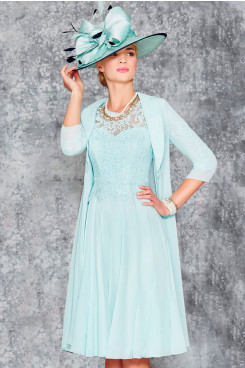 Elegant Jade Blue Mother of the bride dress With Jacket wedding Guests dresses mps-383-2