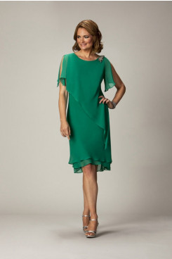 Elegant mother of the bride dress for the beach wedding Dark Green Chiffon mps-152
