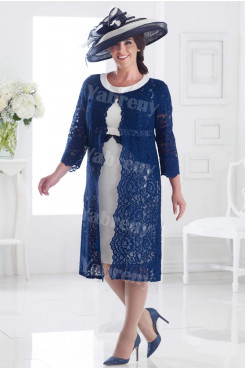 Elegant Plus size Mother of the bride dress with Lace Jacket 2PC outfit mps-353