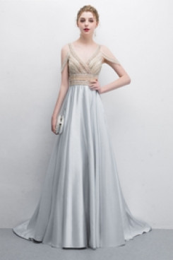 Silver Gray Special occasion Dresses Prom dress Vest Hand beading so-013