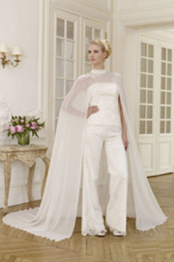 Elegant wedding pant suit lace dress with chiffon cloak mps-015