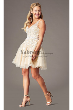 Champagne with White lace Embroidered-Tulle Homecoming Party Dress, Hand Beading Elegant Prom Above Knee Dresses sd-021-3