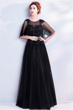 Empire A-line Evening Dresses Jewel Black Prom Dresses TSJY-107