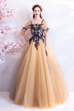 Empire Ball Gown Quinceanera Dresses Champagne Prom Dresses TSJY-109