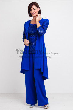 Exquisite Hand beading Mother of the bride Pants suit Trousers Royal Blue Women's outfit mps-490-1