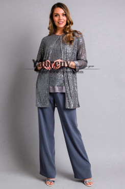 Fashion Gray Sequins Three piece Mother of the bride Pant suit New arrival Women's Outfit mps-489