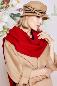 Fashion Red  Color Wool Woman Scarfs for Autumn and Winter