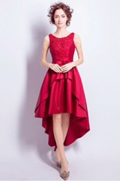Front Short Long Back Homecoming Dresses under $100 red prom dresses TSJY-053