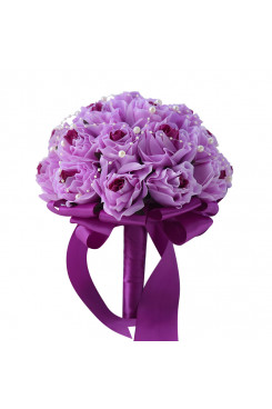 Fuchsia Artificial Flowers Rose for brieal and Bridesmaids holding flowers and Pearls