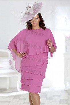 Fuchsia Chiffon Plus size Tiered Mother of the bride dress mps-329