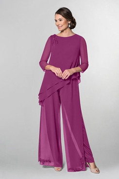 Fuchsia Modern Asymmetry Chiffon Embroidery Loose Mother Of the bride Pants Suits mps-284-4