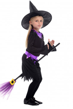 Girls Cosplay Children's Halloween Witch Costume With Hat Teenage Kid Clothes