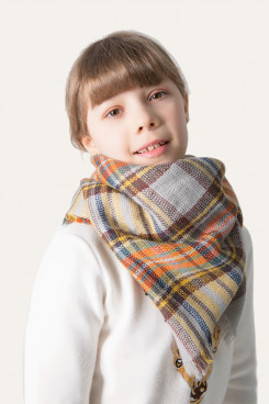 Scarves Classic Plaid Scarf Children's Fall Winter Shawl Warm Soft Wrap Yellow FOR Girls