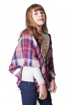 Girls Scarves Soft Fall Winter Scarf Square Plaid Shawl feee shippping
