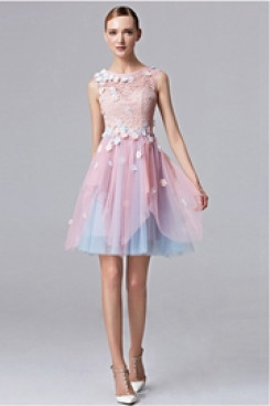 Glamorous A-Line pink and blue lace Homecoming Dresses cyh-020