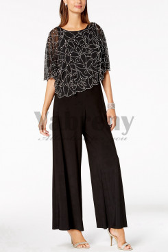 Glamorous Beaded Poncho Jumpsuit Mother of the bride pantsuit outfits mps-001