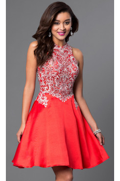 Glamorous Embellished Lace Graduation Party Dresses,A-line Red Homecoming Dresses sd-028