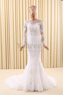 Glamorous Mermaid Tailed Wedding dresses With Sleeves Scoop neckline Button Crystal wd-008