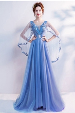 Gorgeous Beach Prom Dresses Ocean Blue Empire Party Dresses TSJY-151