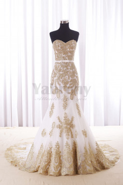Sweetheart Mermaid Wedding dresses With Golden Appliques wd-013