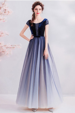 Gradient Dark Blue Prom Dresses Modern Hand Beading Evening Dresses TSJY-119