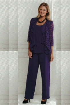 Grape Elegant mother of the bride trousers suits mps-191