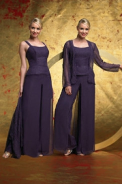 Grape Spring Cheap Three Piece mother of the bride pants sets mps-215
