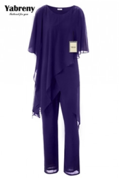 Grape Chiffon Loose mother of the bride pant suits for Summer mps-225