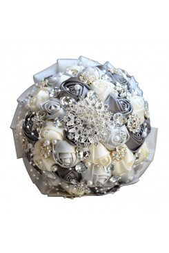 Gray and ivory Artificial Flowers Rose Bouquet wedding bouquets for bride