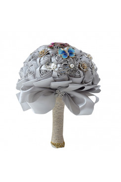 Gray Artificial Flowers Rose for bride and Bridesmaids Bouquet with preals and Butterfly