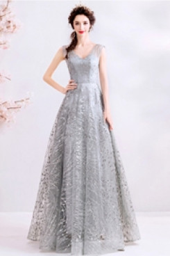 Gray Prom Dresses A-line Sequined Fabrics Evening Dresses TSJY-143