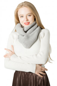 Women's Gray Scarf Knitted Infinity Scarves Fashion Warm Scarves Free Shipping