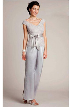 Gray V-Neck Mother of the bride pant suits mps-240