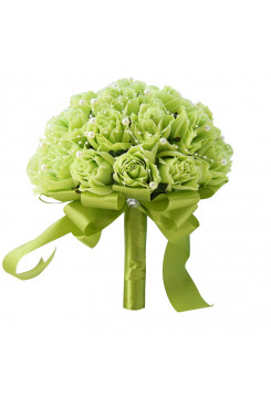 Green Artificial Flowers Rose Wedding Bouquets bride and bridesmaids with Pearls