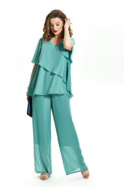 Green Chiffon 2PC Mother of the Bride Pant Suits Beach Wedding Trousers set mps-424-2