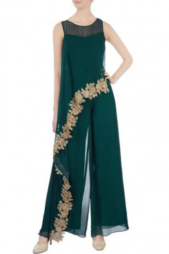 Green Chiffon Loose jumpsuit Spring women's pantsuits mps-514